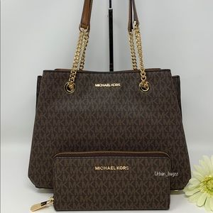 Michael Kors Teagen LG Long Drop Tote And Wallet